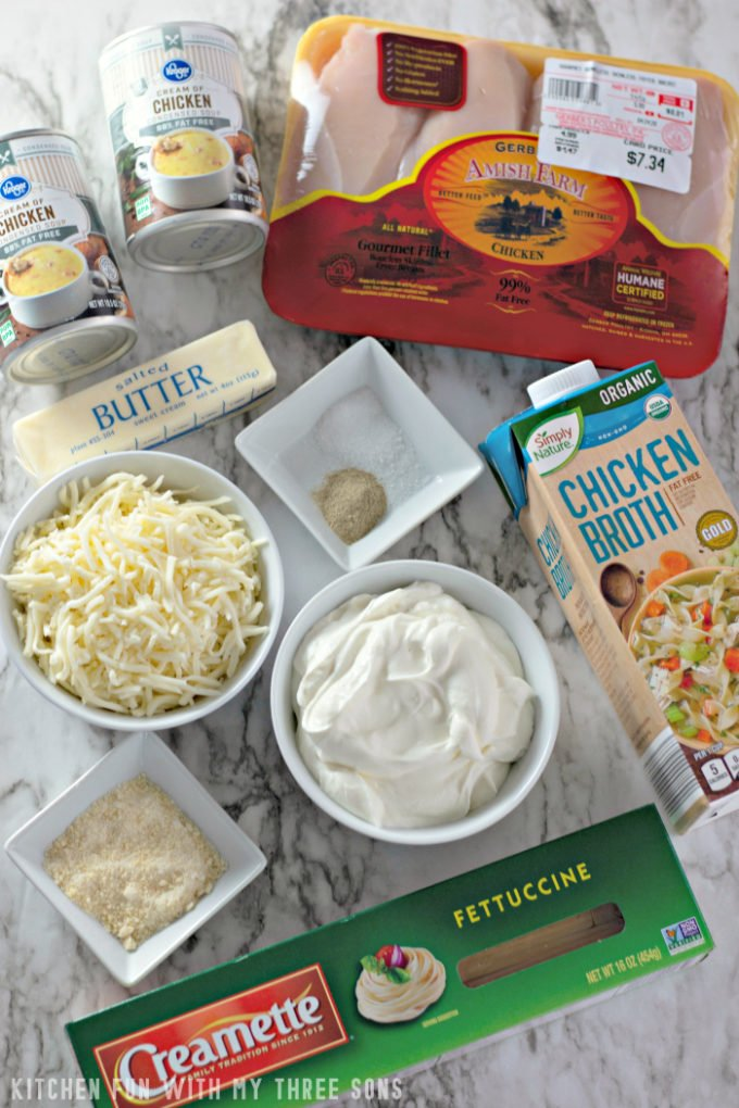 Ingredients to make Easy Chicken Tetrazzini