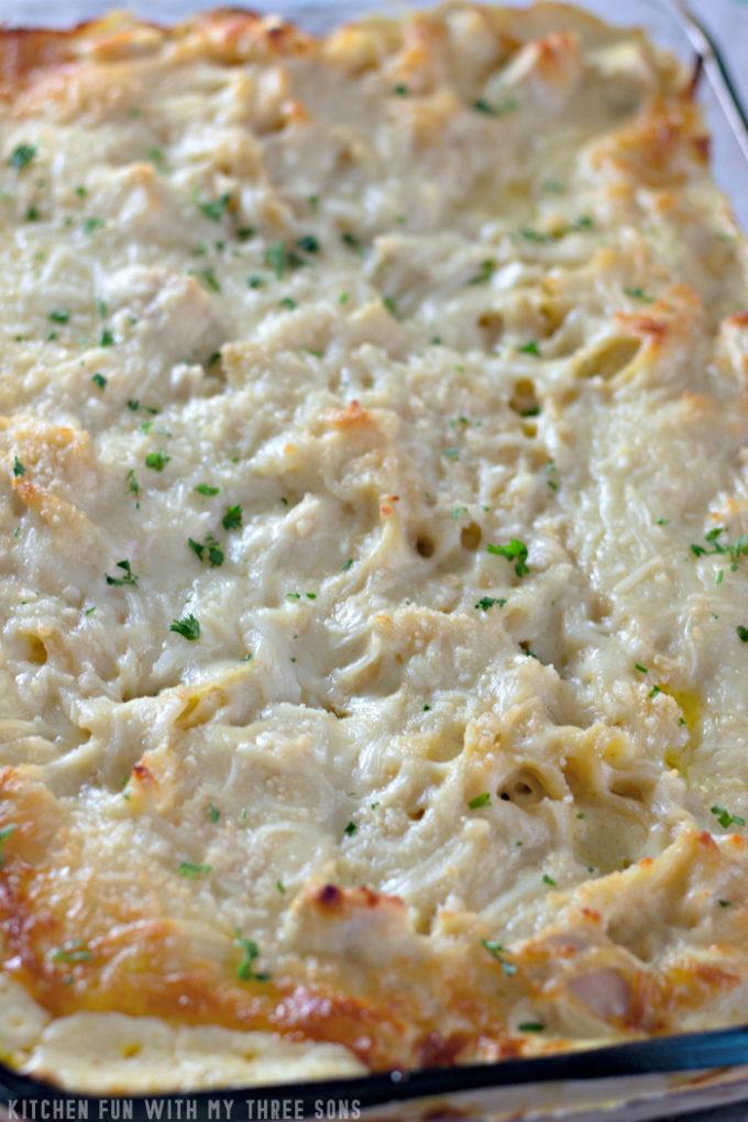 freshly baked Easy Chicken Tetrazzini