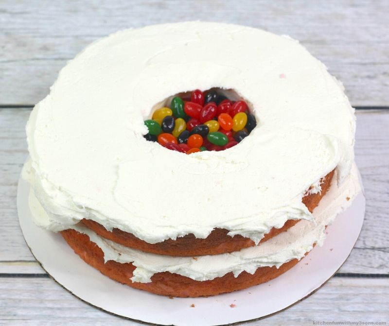 cake cut down the center to fill with jelly beans