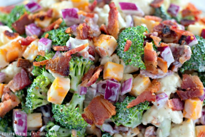 closeup shot of Low Carb Broccoli Salad