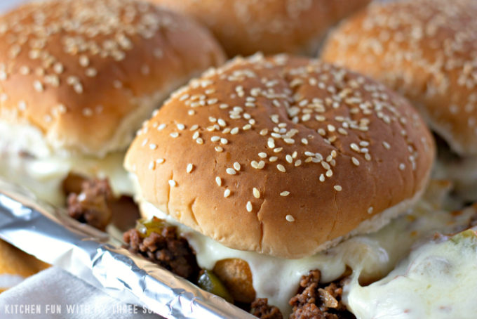 Philly Cheesesteak Sloppy Joes on a foil lined baking sheet
