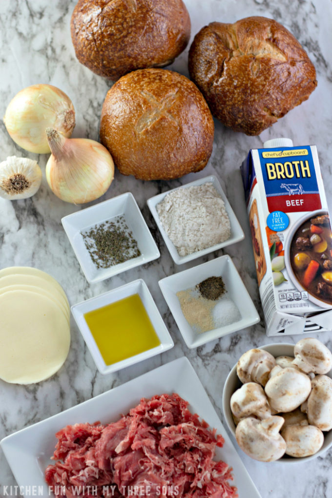 ingredients to make Philly Cheesesteak Soup in a Bread Bowl