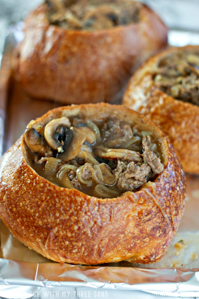 soup in bread bowls