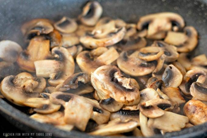 sautéing mushrooms in butter
