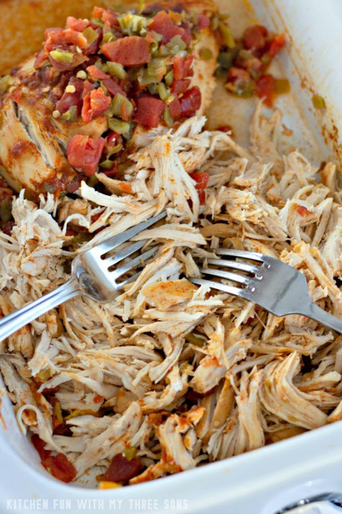 shredding salsa chicken in a white slow cooker