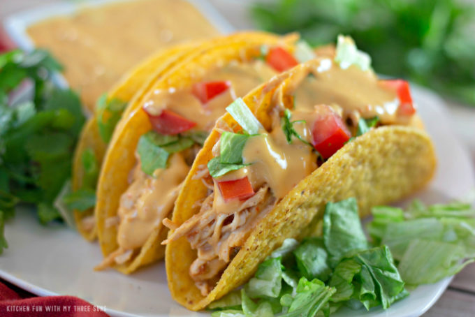 Slow Cooker Cheesy Chicken Tacos with lettuce and cilantro on a white plate