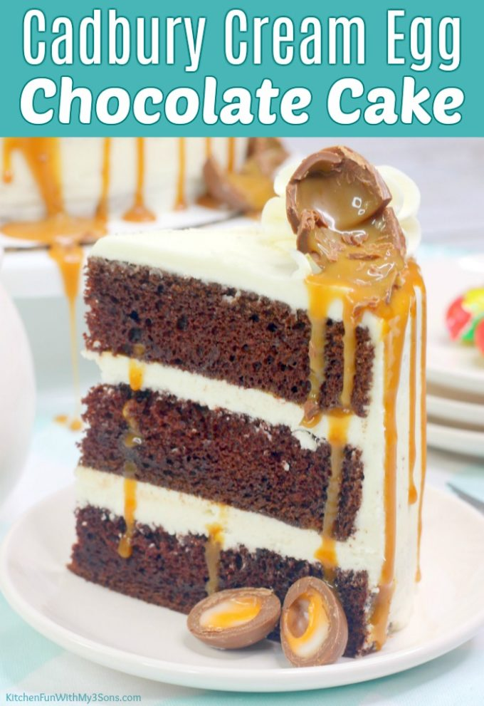 Cadbury Cream Egg Chocolate Cake with Vanilla Buttercream Frosting