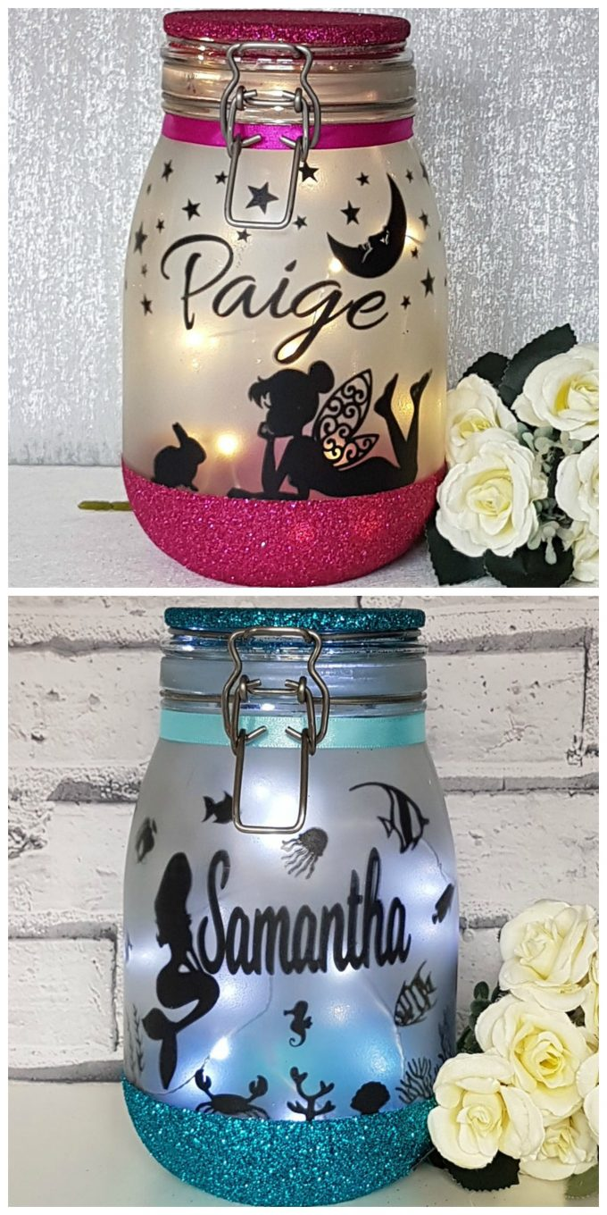 Personalized Fairy Lanterns using Mason Jars