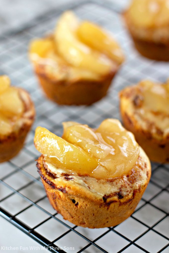 freshly baked 2 Ingredient Apple Pie Cups before adding frosting
