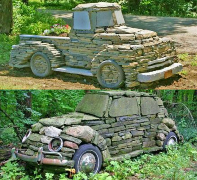 Cars and Trucks made from Rocks