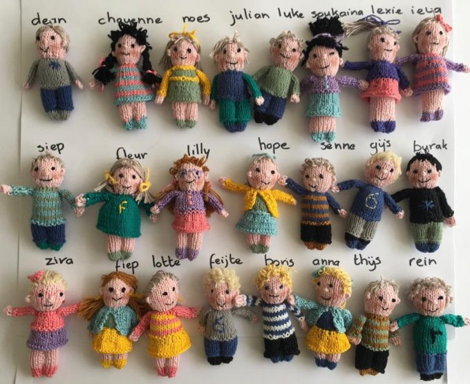 Knitted Dolls of Classroom Students