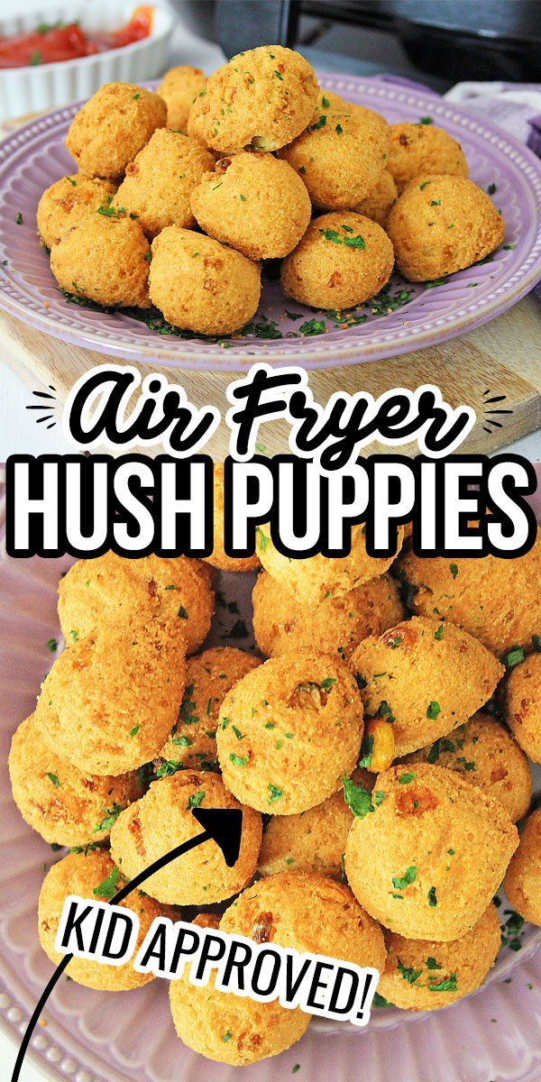 Air Fryer Hush Puppies are so good alongside your seafood dinner or even just as a snack. This traditionally deep fried recipe has just as much yummy flavor in the Air Fryer.
