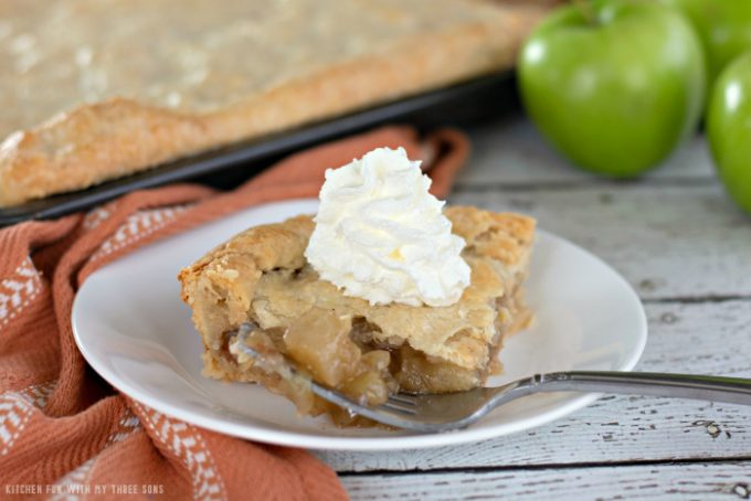 Apple Slab Pie with whipped cream