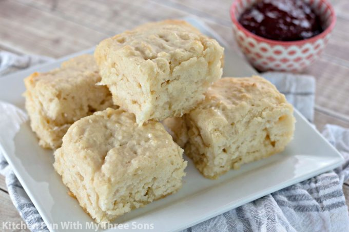 Butter Dip Buttermilk Biscuits with strawberry jam