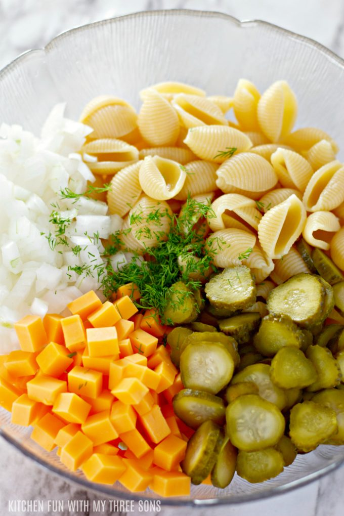 ingredients for dill pasta salad