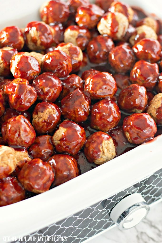 Easy Grape Jelly Meatballs for a Crowd ready to be cooked in a slow cooker