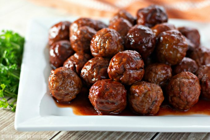 Easy Grape Jelly Meatballs for a Crowd on a white platter