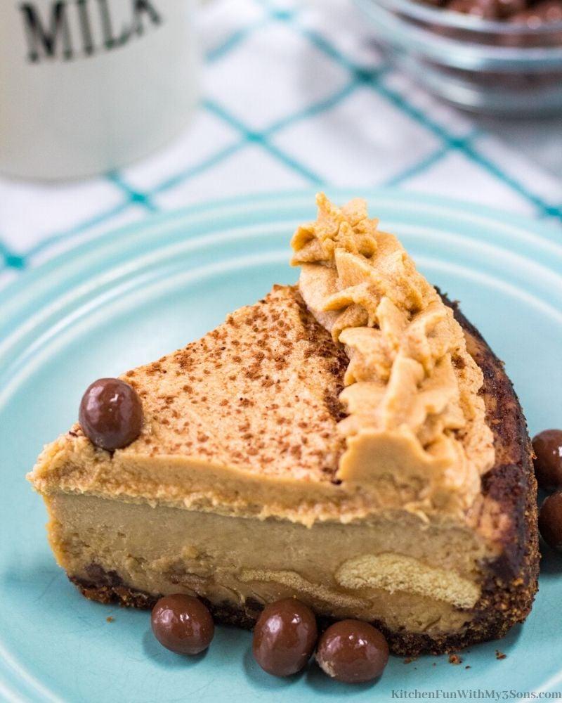 Instant Pot Tiramisu Cheesecake on a blue plate