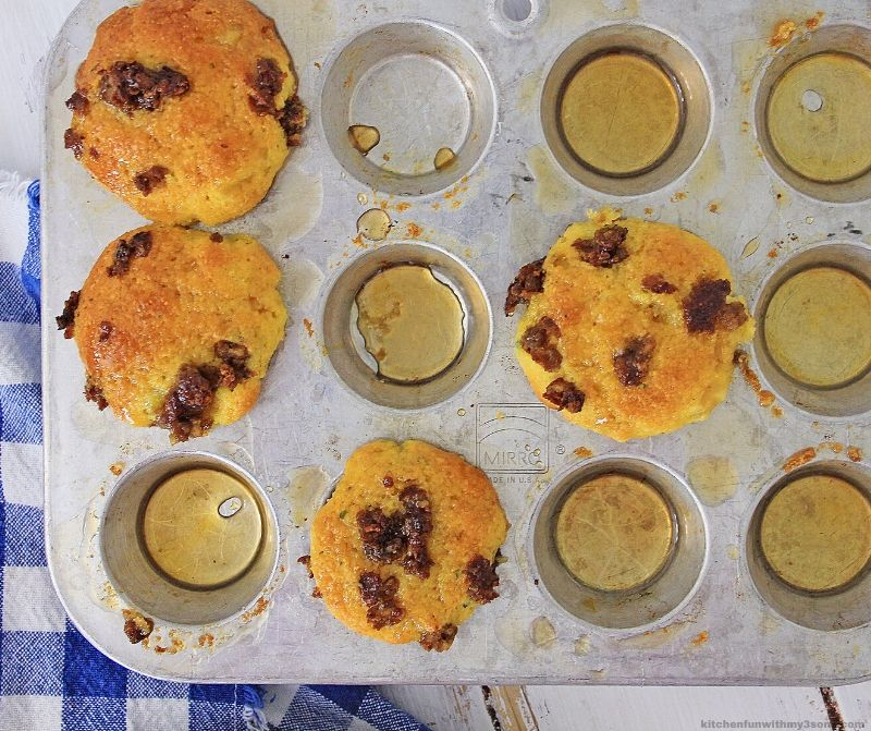 Maple Sausage Corn Muffins in a pan