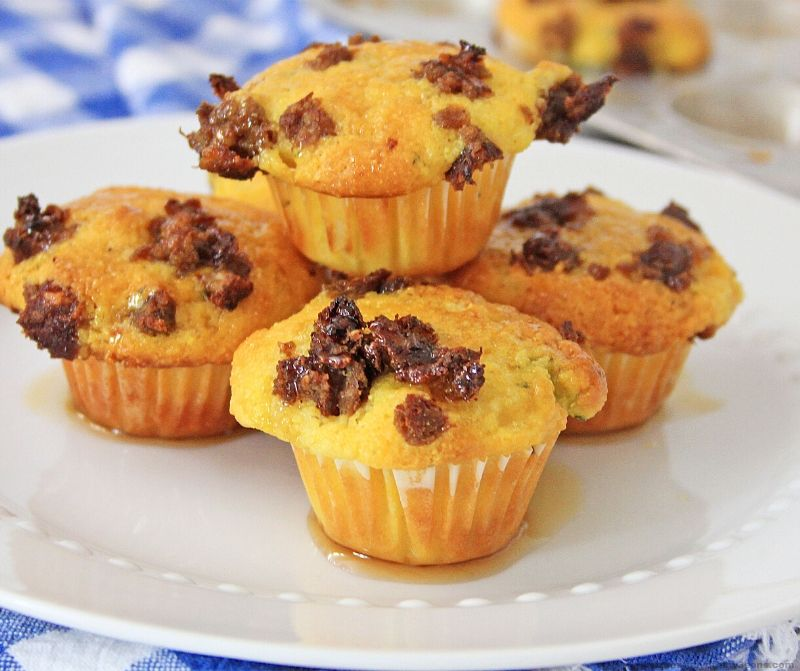 Maple Sausage Corn Muffins on a white plate