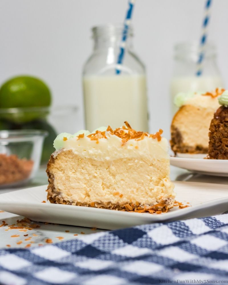Margarita Cheesecake on a white plate