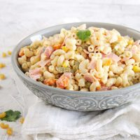 Mexican Macaroni Ham Salad in a gray bowl