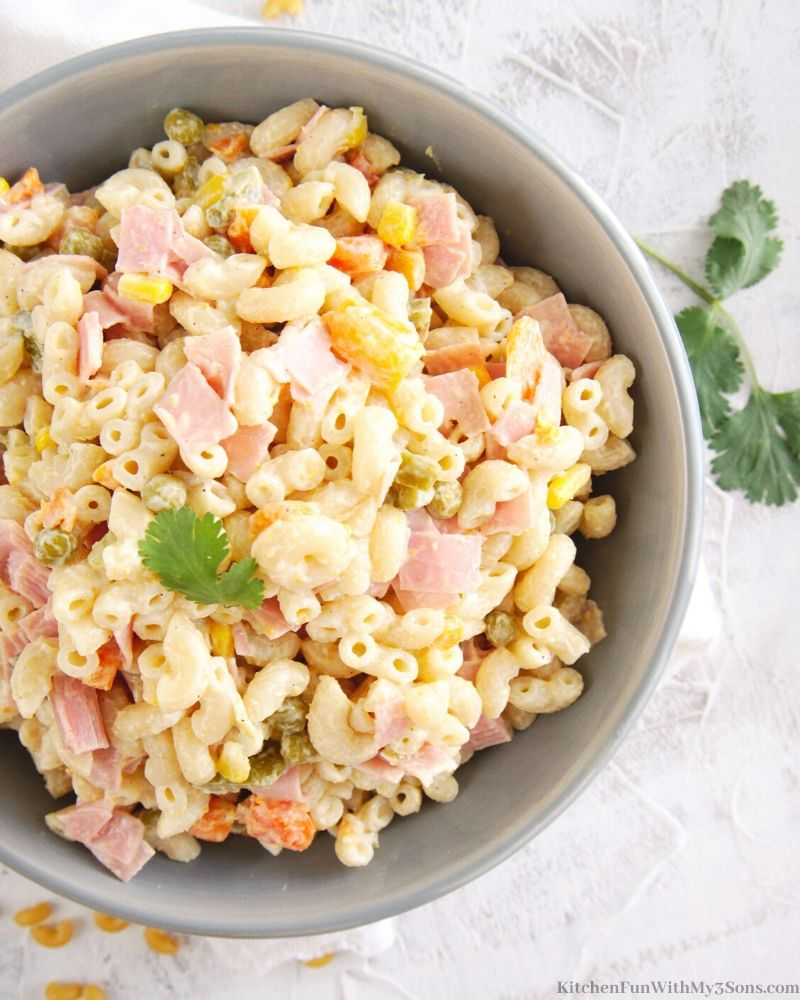 Mexican Macaroni Ham Salad in a bowl