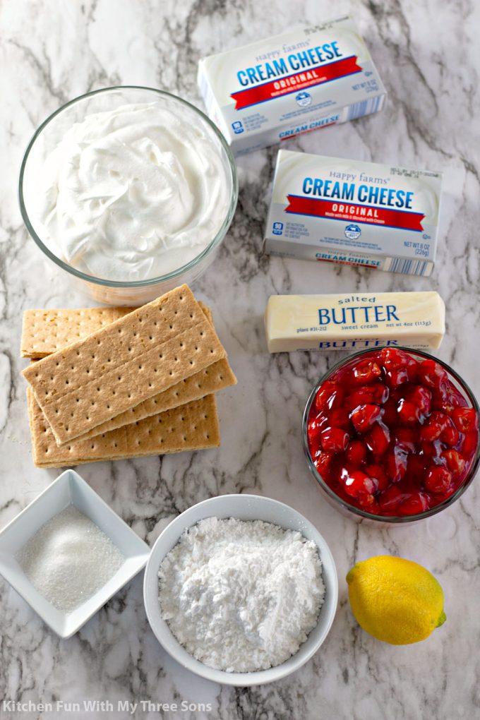 ingredients to make No Bake Cherry Cheesecake Bars