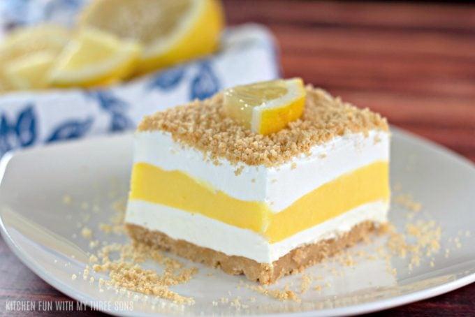 No Bake Lemon Lasagna on a white plate