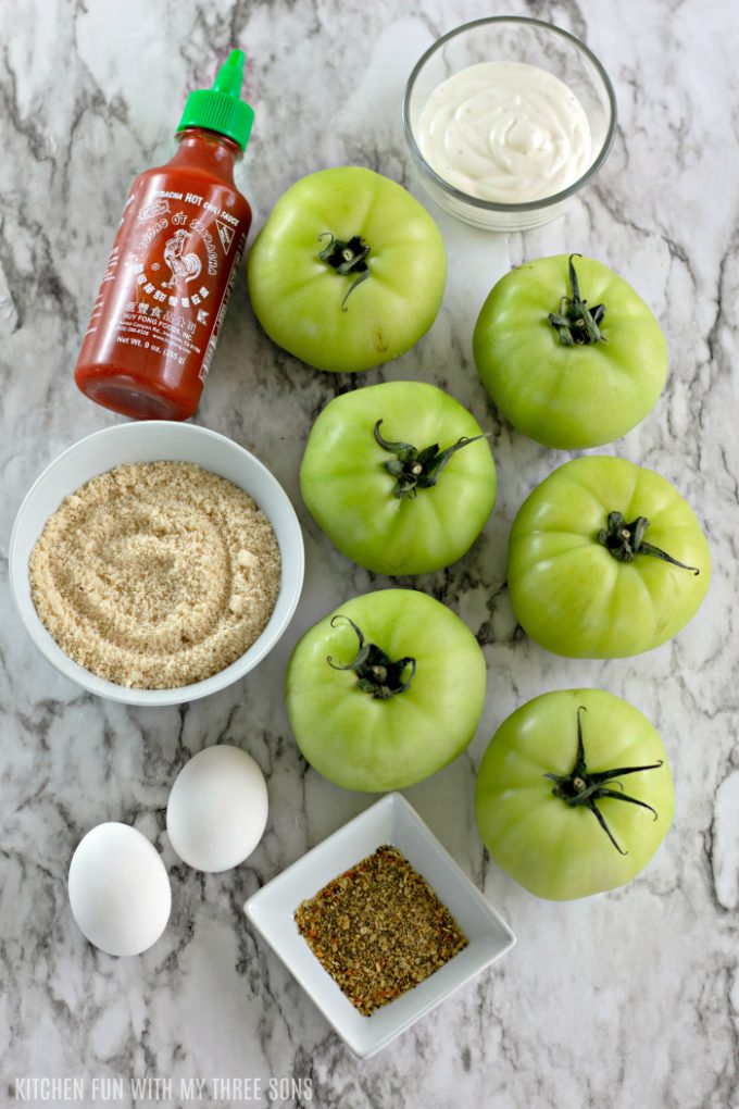 ingredients to make Oven Fried Green Tomatoes with Spicy Ranch