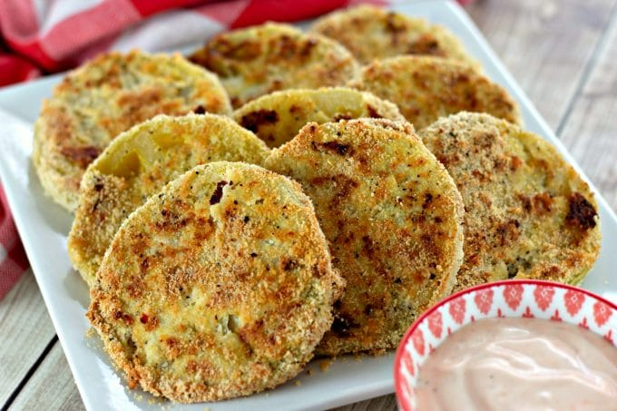 Oven Fried Green Tomatoes with Spicy Ranch