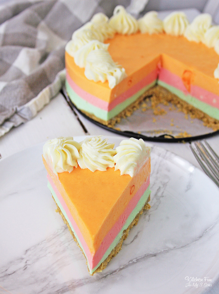Rainbow Sherbet Cheesecake is a no-bake dessert with a yummy graham cracker crust and tastes just like rainbow sherbet!