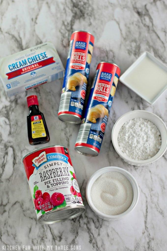 ingredients to make Raspberry Cheese Danish Ring