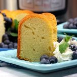 pound cake on a blue plate