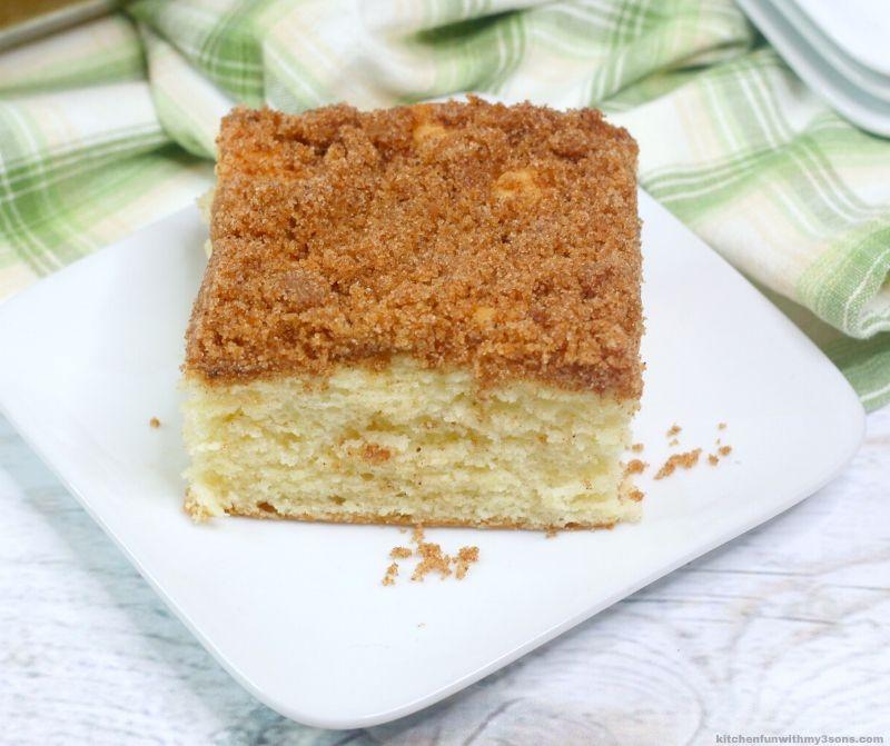 Spanish Buttermilk Coffee Cake ona white plate