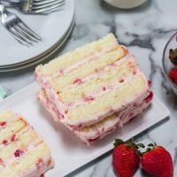 Strawberry Cream Cake on a white plate