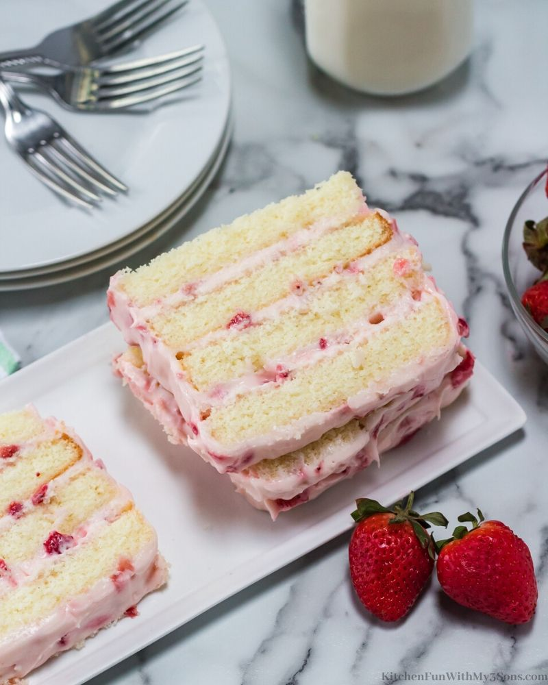 Strawberry Cream Cake on a white plate