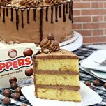 whopper malted milk ball cake on a white plate