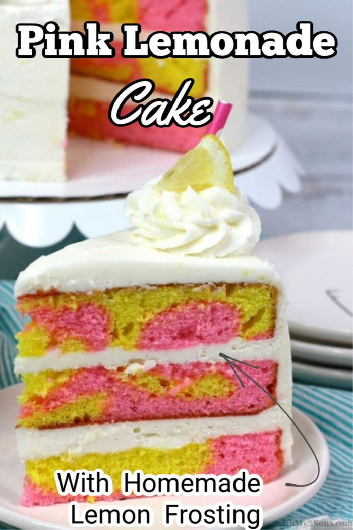 pink lemonade cake on a white plate