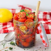 tomato relish in a glass jar