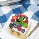 Triple Berry Sheet Cake on white plate