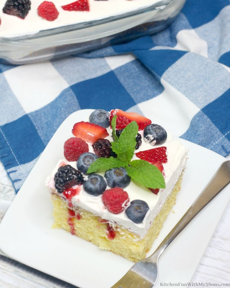 Triple Berry Sheet Cake on white plate