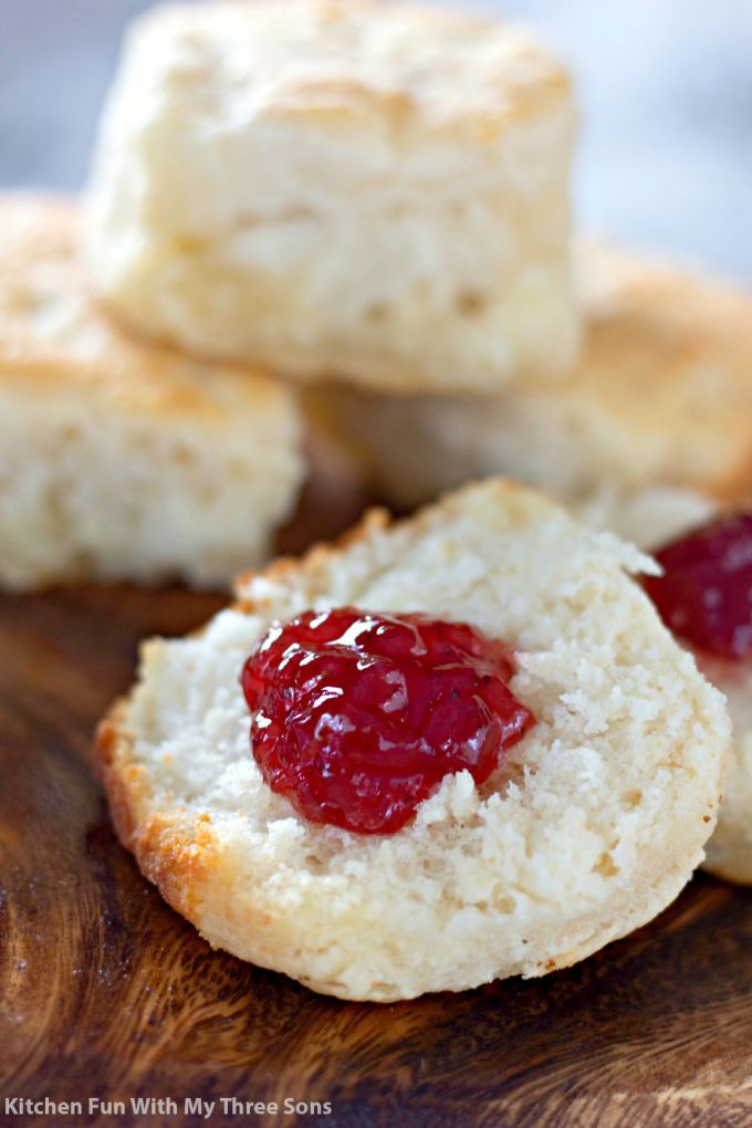 7 Up Biscuits Recipe with strawberry jam