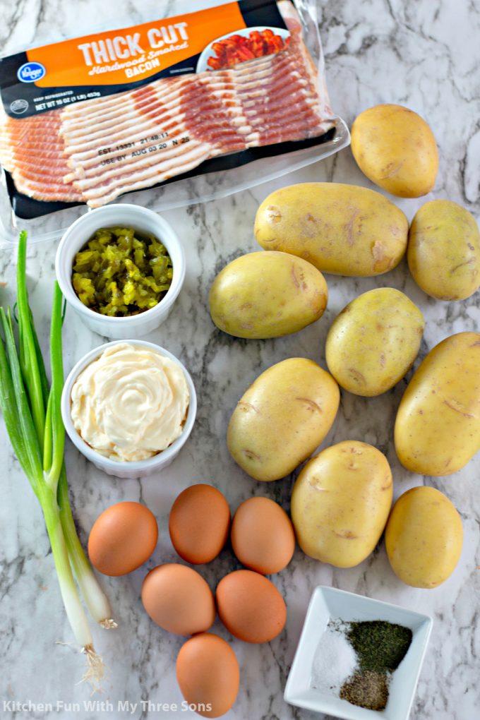 ingredients to make Bacon Potato Salad Recipe