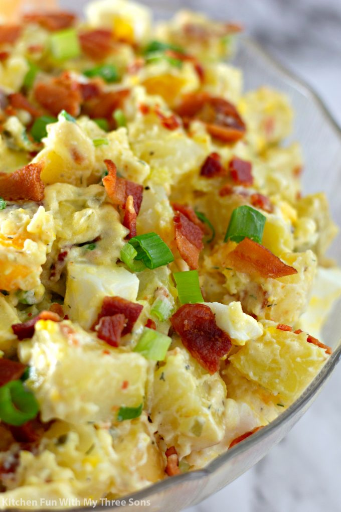 close up of Bacon Potato Salad Recipe in a clear bowl