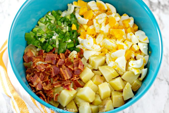 ingredients to make Bacon Potato Salad Recipe in a teal bowl