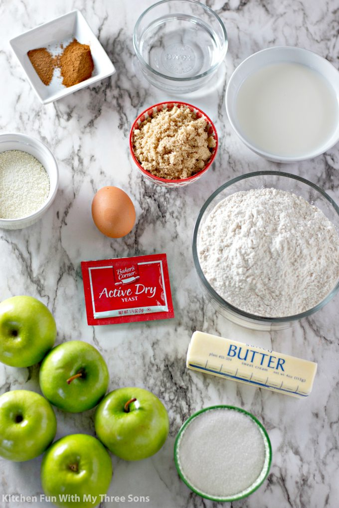 ingredients to make Caramel Apple Cinnamon Rolls