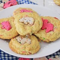 Circus Animal Sugar Cookies are a yummy homemade sugar cookie recipe filled with crushed frosted animal crackers and sprinkles.