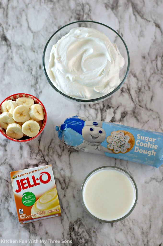 ingredients to make Easy Banana Pudding Cookie Cups