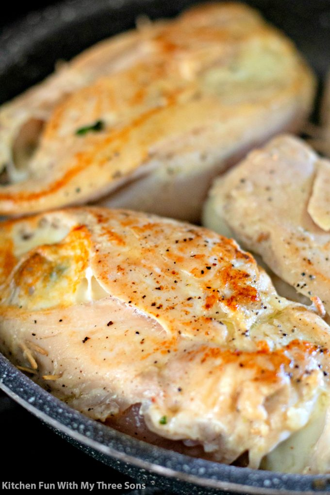 seared chicken breasts in a pan